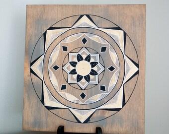 Mandala Art- Mandala on Distressed Wood- Mandala Wall Hanging- Mandala Decor- Black/Gold Mandala