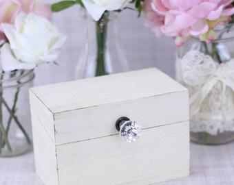 Shabby Chic Recipe Box With Glass Knob Custom Wedding Shower Gift Decor (Item Number MHD20094)