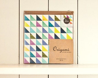 Triangle Origami Paper, Scrapbook paper pack, Gift Wrapping, Paper folding, Origami paper sheets, Colorful Paper