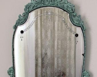 Antique Etched Mirror - Aqua Victorian Mirror - Carved Wood Gesso Frame - Large Vintage Mirror - Aqua Mirror