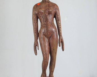 A Chinese Woman Body Acupuncture Sculpture Figurines & Statue carving wooden
