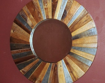 ROUND RECLAIMED BARN Wood Mirror