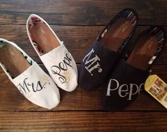 Custom TOMS, Mr. And Mrs. TOMS, Custom Wedding Shoes, Wedding Shoes, Wedding TOMS, Hand Lettered Wedding Shoes, Mr. And Mrs. Shoes