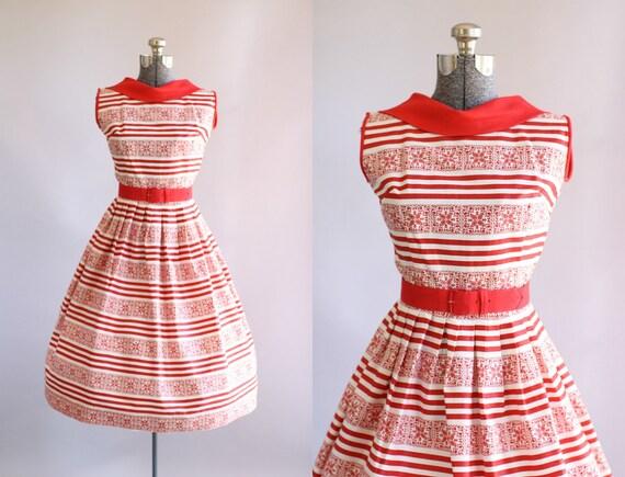 Jahrgang 1950 Kleid / 50er Jahre Baumwolle Kleid / rot-weiß