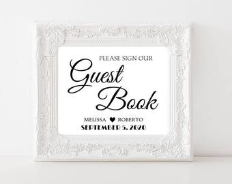 Elegant Wedding Guest Book Sign DIY Wedding Printable Please Sign Our Guest Book Wedding Signage Customized #CWS304