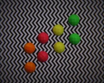 Small Neon Stud Earrings: green, yellow, pink, or orange!