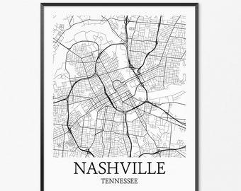 Nashville Map Art Print, Nashville Poster Map of Nashville Decor, Nashville City Map Art, Nashville Gift, Nashville  Tennessee Art Poster