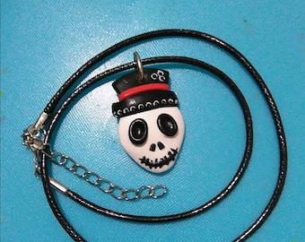 Skeleton Skull Necklace in Fimo