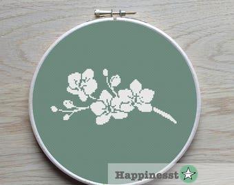 cross stitch pattern orchids, modern cross stitch, flower, PDF pattern ** instant download**
