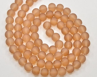 """Light Brown -  Frosted """"Beach"""" Glass - 2 Strands - 6mm"""