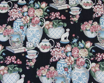 "Vintage Decorator Fabric -  4+ yds - 54"" wide Porcelain & Flowers by 5th Avenue Designs - 1992"