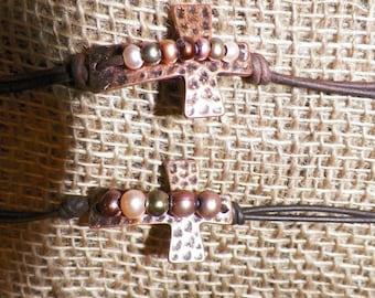 Copper Cross Freshwater Pearl Bracelet
