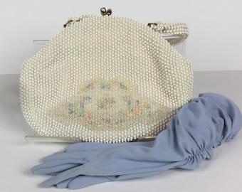 Vintage 1950s Corde Bead White Beaded Handbag by Lumured