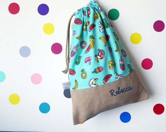 Customizable drawstring pouch - cuddly toy bag - name - kindergarten - pool - swimming - blue - multicolor - slippers or toys bag