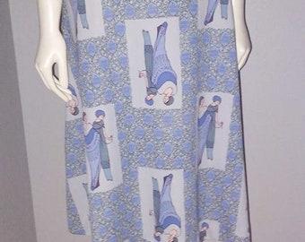 Vintage 1970s Skirt Flapper Girl Print Lavender Purple Novelty Polyester Sz S/M