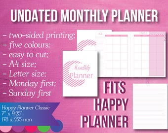 Undated Monthly Happy Planner, Refills, Monday First, Sunday First, Planner Inserts