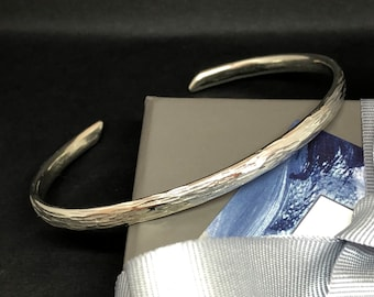 Sterling silver tree bark textured cuff bangle