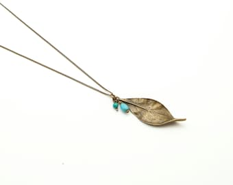 Long Leaf Necklace - Boho Leaf Necklace - Turquoise Necklace on Antique Bronze Chain with extra long necklace option