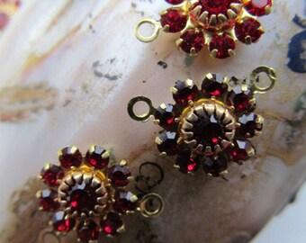 Vintage Swarovski Ruby Crystal Flowers Connectors