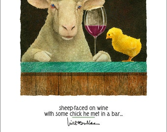 Will Bullas / art print / sheep-faced on wine with some chick he met at a bar... / humor / animals