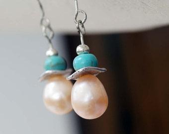 Turquoise Earrings, Pearl Earrings, 1 Pair