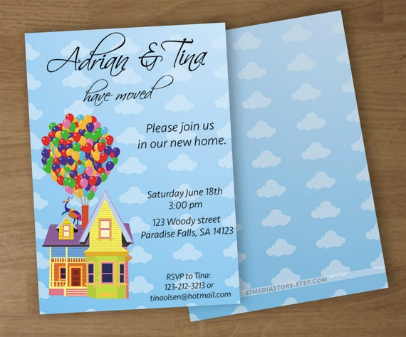 Up Themed Wedding Invitations: Housewarming Invitation UP Theme Digital Printable Custom
