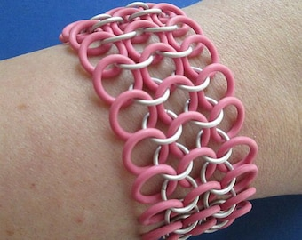 Chainmaille Bracelet - Pink and White - Stretchy Chainmaille - Chainmail Jewelry - Stretch Bracelet - Pink Chainmaille - Cuff Bracelet