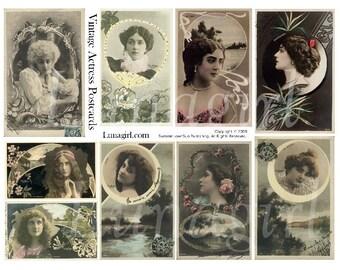 ART NOUVEAU ACTRESSES collage sheet digital download women ladies vintage photos antique Paris postcards French ephemera moon altered art