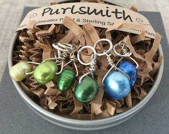 Seedling Mix Sterling Silver & Freshwater Pearl Stitch Markers for Knitting,Set of 6,Knitting Notions, Gift for Knitter