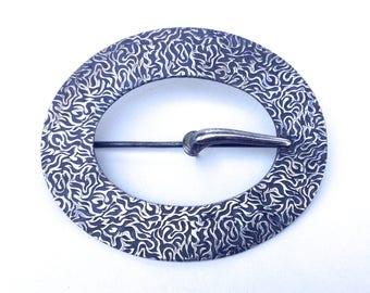 Silver Buckle Brooch Victorian Huge Sash Pin