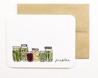 Pickles card with envelope | Pickles | Pickle jar | Greeting card | Pantry | Farm food | Preserves