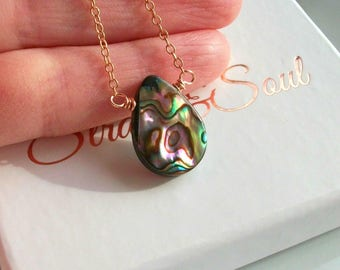 Abalone Shell Necklace On Rose Gold Cable Chain - Gift For Her