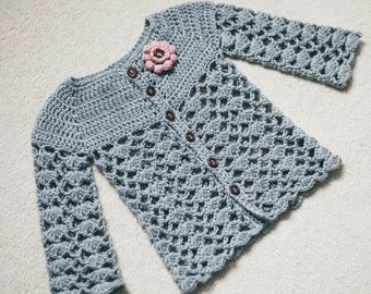 Crochet Cardigan PATTERN - Sweet Little Cardigan (sizes 0-6,6-12,1-2,3-4)