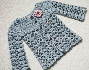 Crochet Cardigan PATTERN - Sweet Little Cardigan (sizes 0-6,6-12,1-2,3-4)