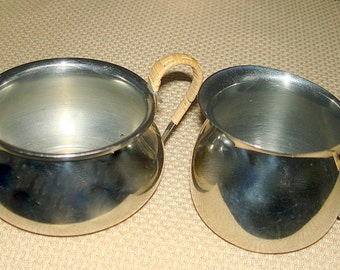 Creamer & Sugar Bowl Danish Modern Silver Tone (Could be Stainless or Silver Plate) Sugar  Woven Handles Smaller Size