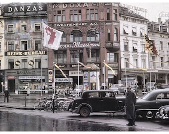 Vintage Europe in Basel, Switzerland 1950s 12x8 Art Print with 4 Versions