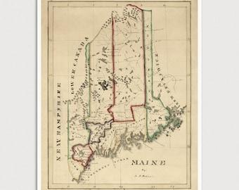 Maine Map, Antique Map Art Print, 1820, Archival Reproduction