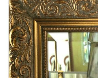 Bella Ornate Embossed Framed Wall Mirror Antique Gold Finish
