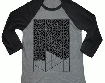 Unisex PATTERN RECOGNITION 3/4 Length Sleeve Vintage Style Sacred Geometry Tattoo Style Baseball T-shirt