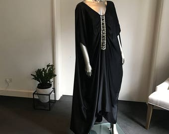 Silk kaftan with beaded tribal design #1