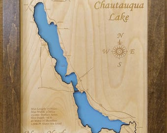 Wood Laser Cut Map of Chautauqua Lake, NY Topographical Engraved Map