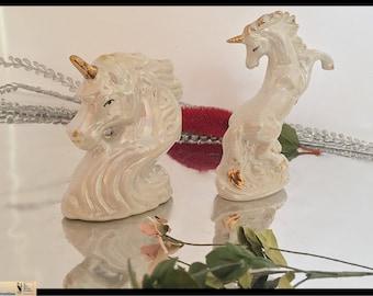 Vintage Unicorn Figurines Iridescent Porcelain, SET Unicorns, Mid-Century Modern, Iridescent Unicorn Figurines, Gifts for Her Gifts Under 35