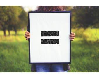 Equality Print, Equal Sign Art Print, Equality Symbol, Love Wins, Black and White Equal Sign, Printable Wall Art, Geometric, Poster Print