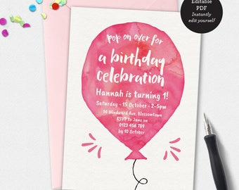 Birthday Invitation template, Balloon invitation, custom invitation, template invitation, 5x7 invitation, kids invitation, party invitation