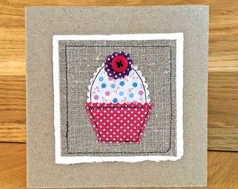 Handmade blank greeting card vase of fabric flowers gift cupcake blank card handmade applique card any occasion m4hsunfo