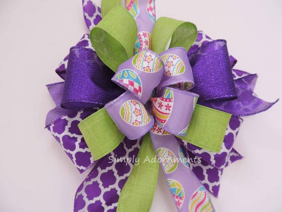 Whimsical Easter Egg Wreath Bow Purple Green Easter Lantern Swag Bow Funky Purple Lime Easter Gift Basket Bow Easter Wreath Door hanger Bow