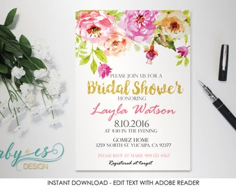 BRIDAL SHOWER Invitation, Instant Download, Watercolor Floral Bridal Shower Invitation, flowers, Edit yourself with Adobe Reader