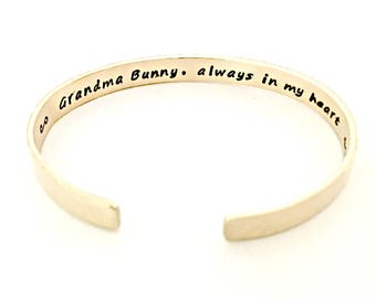 Always In My Heart Cuff Bracelet - Hand Stamped Nu Gold Remembrance Jewelry - Personalized Red Brass Secret Message - Memorial, Loss  Gift