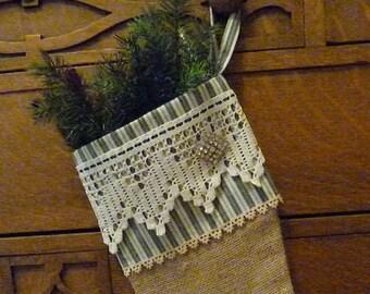 Christmas Stocking, Vintage Lace, Rhinestone Button, Burlap Stocking, Handmade Stocking, Vintage Inspired Christmas