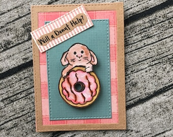 """Hand painted small greeting gift card """"will a donut help?"""" Bunny holding a doughnut blank inside"""